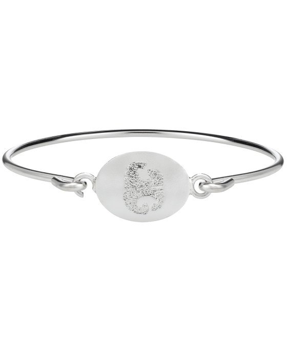 Pet Nose Print White Gold Bangle Bracelet