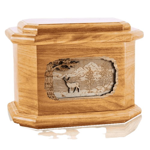 Deer Oak Octagon Cremation Urn