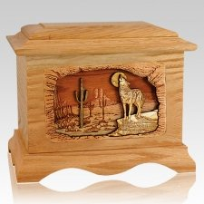 Desert Moon Oak Cremation Urn