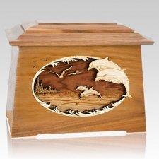 Dolphins Oak Aristocrat Cremation Urn