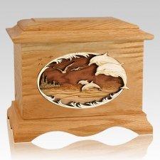 Dolphins Oak Cremation Urn