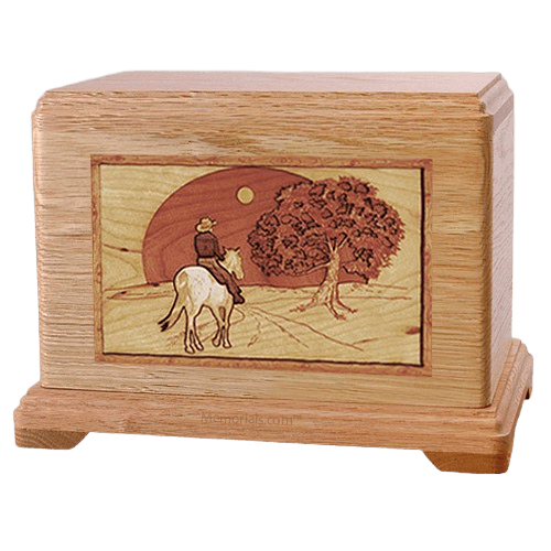 Horse & Moon Oak Hampton Cremation Urn