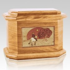 Horse & Moon Oak Octagon Cremation Urn