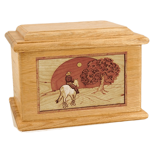 Horse & Moon Oak Memory Chest Cremation Urn
