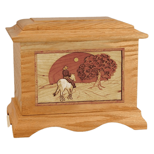 Horse & Moon Oak Cremation Urn