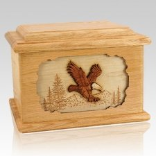 Eagle Oak Memory Chest Cremation Urn