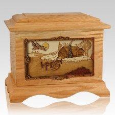Rustic Paradise Oak Cremation Urn