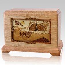 Rustic Paradise Oak Hampton Cremation Urn