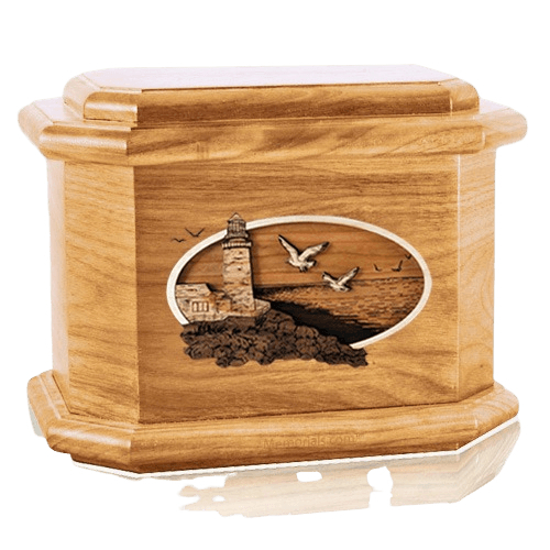 Sea Coast Oak Octagon Cremation Urn