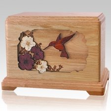 Hummingbird Oak Cremation Urn For Two
