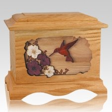 Hummingbird Oak Cremation Urn
