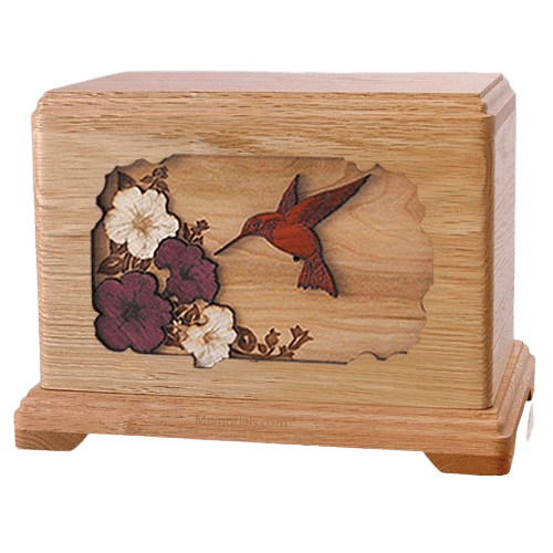 Hummingbird Oak Hampton Cremation Urn