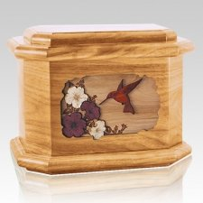 Hummingbird Oak Octagon Cremation Urn
