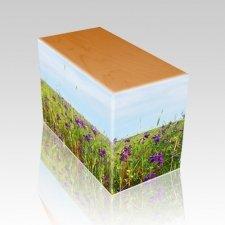 Field of Violets Oak Child Cremation Urn