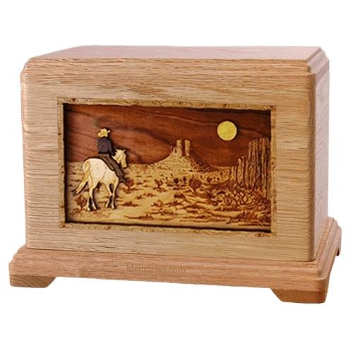 Horse Moon Oak Hampton Cremation Urn