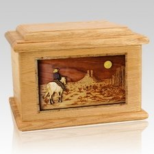 Horse Moon Oak Memory Chest Cremation Urn