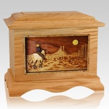 Horse Moon Oak Cremation Urn
