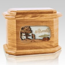 Golf Oak Octagon Cremation Urn