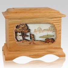 Golf Oak Cremation Urn