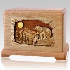 Bears Oak Cremation Urn For Two