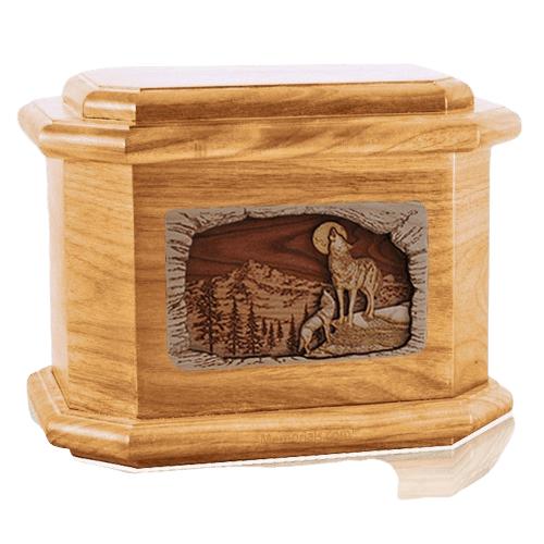 Moonlight Serenade Oak Octagon Cremation Urn