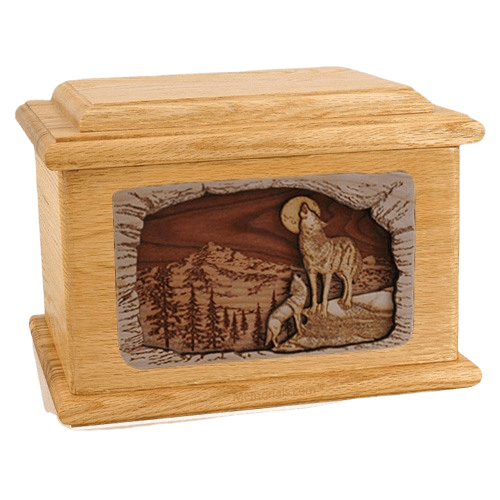 Moonlight Serenade Oak Memory Chest Cremation Urn