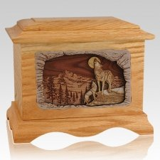 Moonlight Serenade Oak Cremation Urn