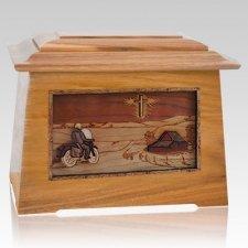 Motorcycle & Cross Oak Aristocrat Cremation Urn