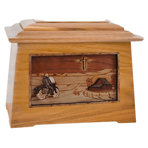 Motorcycle & Cross Oak Aristocrat Cremation Urn