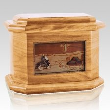 Motorcycle & Cross Oak Octagon Cremation Urn