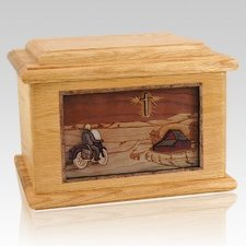 Motorcycle & Cross Oak Memory Chest Cremation Urn