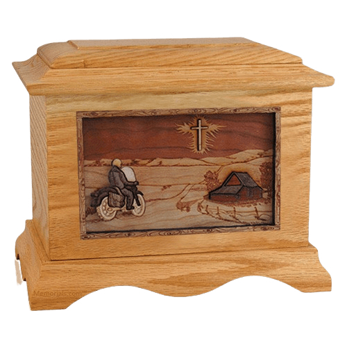 Motorcycle & Cross Oak Cremation Urn