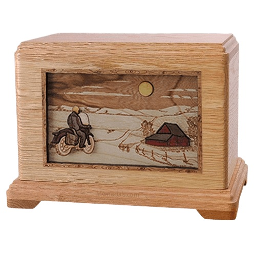 Motorcycle Moon Oak Hampton Cremation Urn