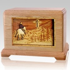 Last Horse Ride Oak Cremation Urn For Two