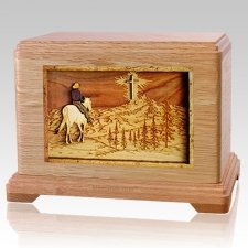 Last Horse Ride Oak Hampton Cremation Urn