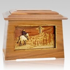 Last Horse Ride Oak Aristocrat Cremation Urn