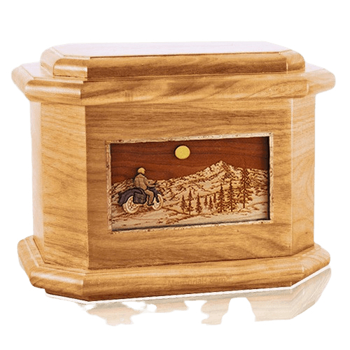 Motorcycle Mountains Oak Octagon Cremation Urn