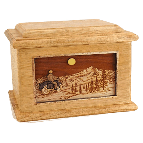 Motorcycle Mountains Oak Memory Chest Cremation Urn