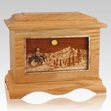 Motorcycle Mountains Oak Cremation Urn
