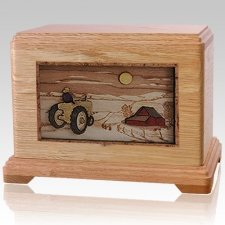 Tractor & Moon Oak Cremation Urn For Two