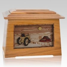 Tractor & Moon Oak Aristocrat Cremation Urn