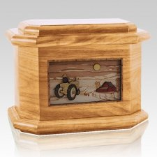 Tractor & Moon Oak Octagon Cremation Urn