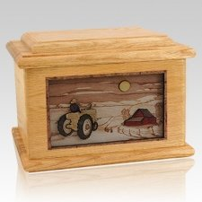 Tractor & Moon Oak Memory Chest Cremation Urn