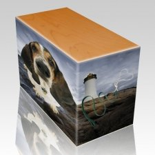 Lighthouse Oak Pet Picture Urn III