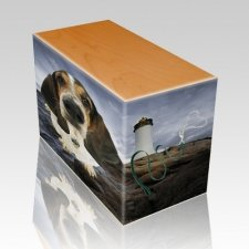 Lighthouse Oak Pet Picture Urn II