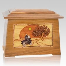 Motorcycle & Moon Oak Aristocrat Cremation Urn