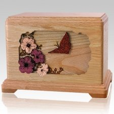 Butterfly Oak Cremation Urn For Two
