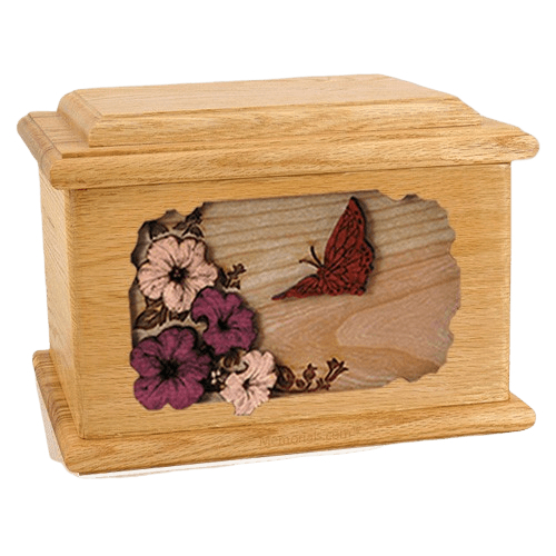 Butterfly Oak Memory Chest Cremation Urn