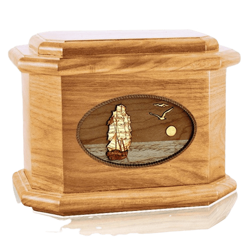 Sailing Home Oak Octagon Cremation Urn