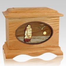 Sailing Home Oak Wood Cremation Urn